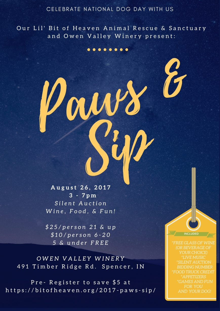 Our Lil' Bit of Heaven Animal Rescue & Sanctuary and Owen Valley Winery present_